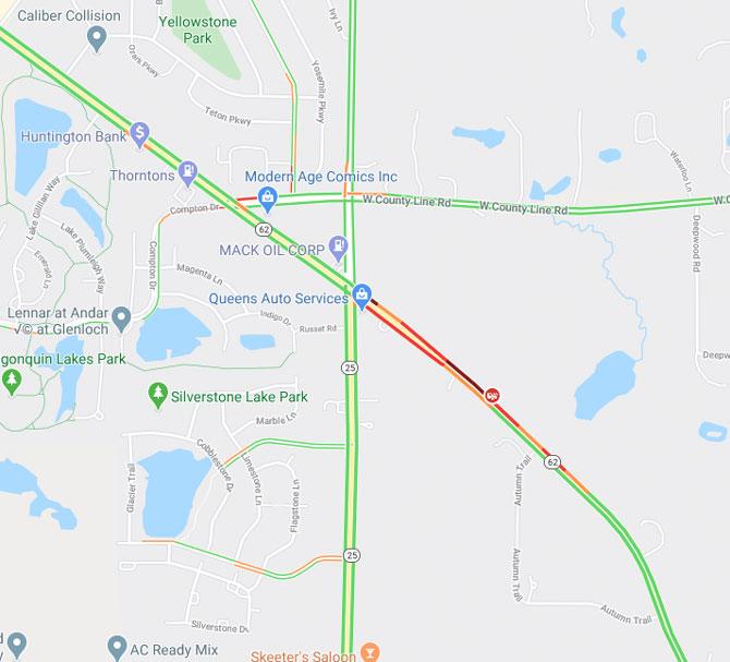 Algonquin Road crash map Friday, April 24, 2020