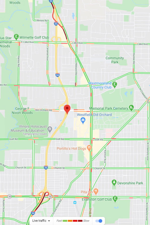 Edens Expressway closure for police standoff with barricaded truck driver April 29, 2020 near Skokie