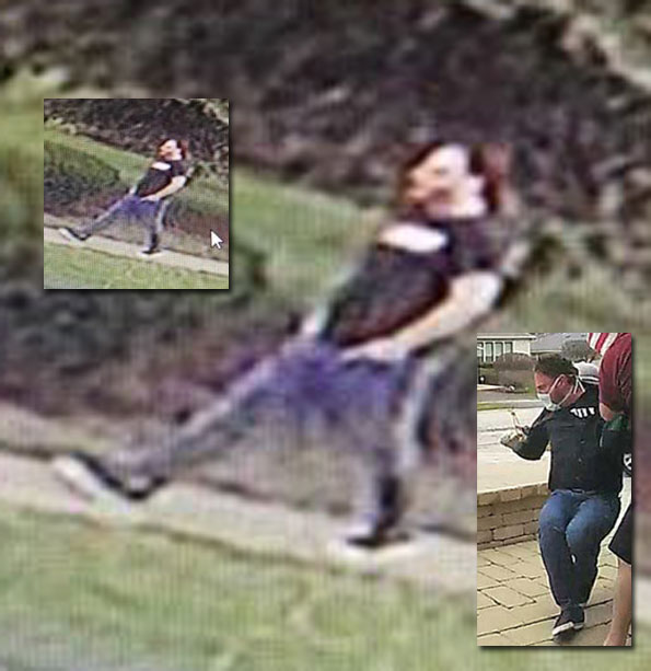 Submitted security image with inset image of suspect in a Ring video that police say is the surviving suspect in a home invasion that resulted in the death of his accomplice