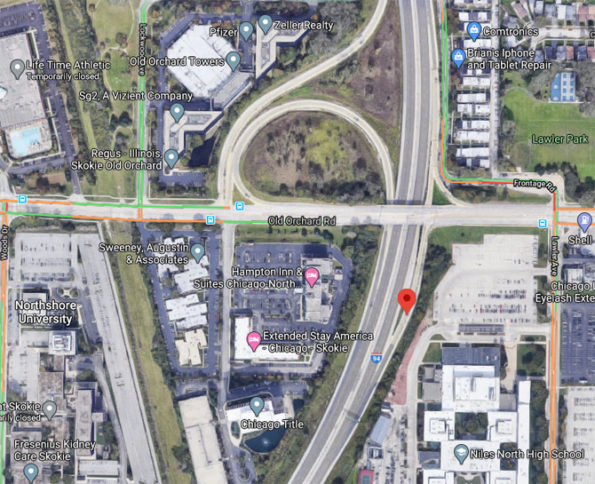 Map View of Standoff on NB Edens Expressway at Old Orchard Road