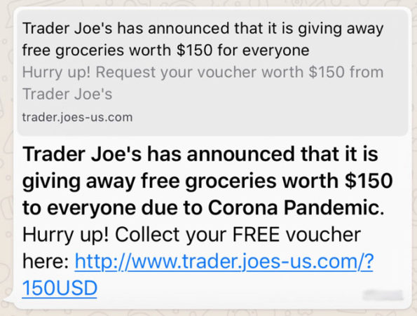 Trader Joe's Impersonator fraud for free groceries voucher on WhatsApp