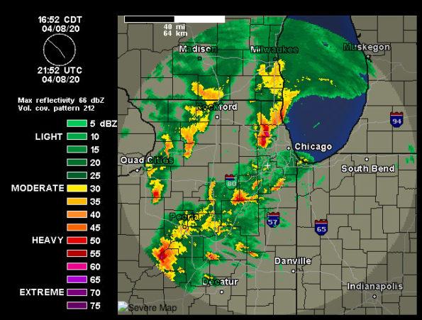 Weather Underground NEXRAD radar April 8, 2020 at 4:52 p.m. CDT