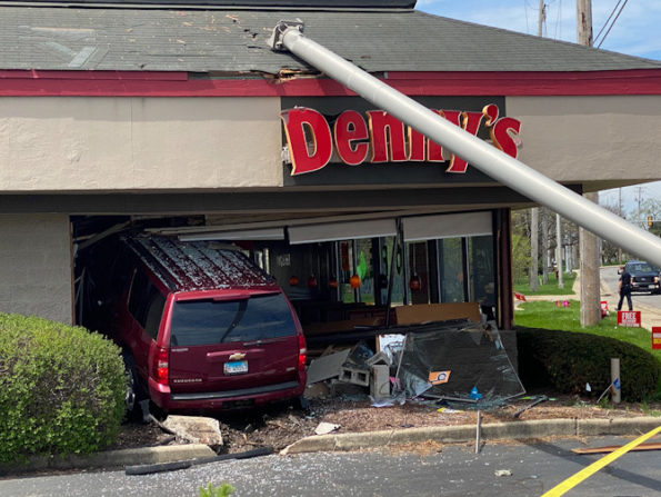 Chevy Suburban crash into Denny's Arlington Heights