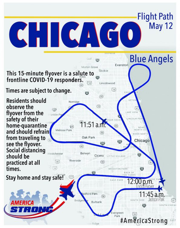 Blue Angels Chicago flyover Flight Plan Tuesday, May 12, 2020