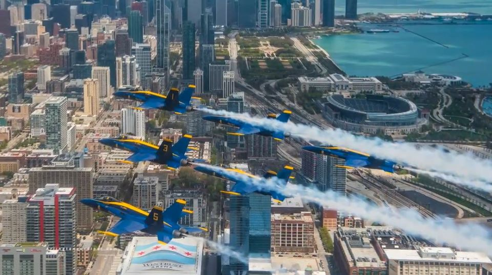 Blue Angels fly over Soldier Field