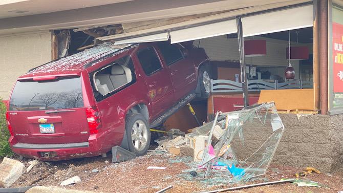 Driver of Chevy Suburban crashes into Denny's Arlington Heights