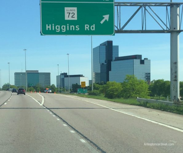 Illinois State Police SUV blocking Higgins Road exit from SB I-290/IL-53