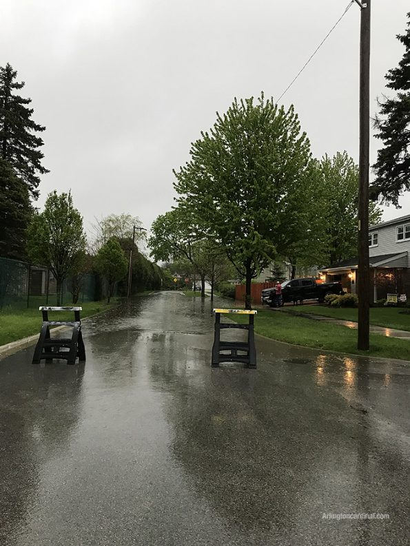 Flooded streets near Donald Avenue and Miner Street in Arlington Heights