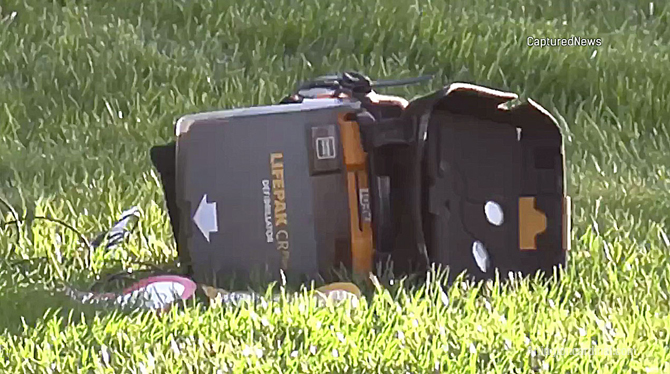 LifePak defibrillator case left behind at scene after paramedics rushed a gunshot victim to Northwest Community Hospital