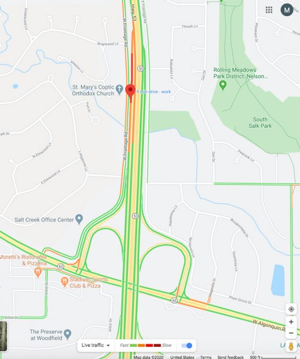 Map Vehicle vs Motorcycle crash Route 53 on Saturday May 16, 2020