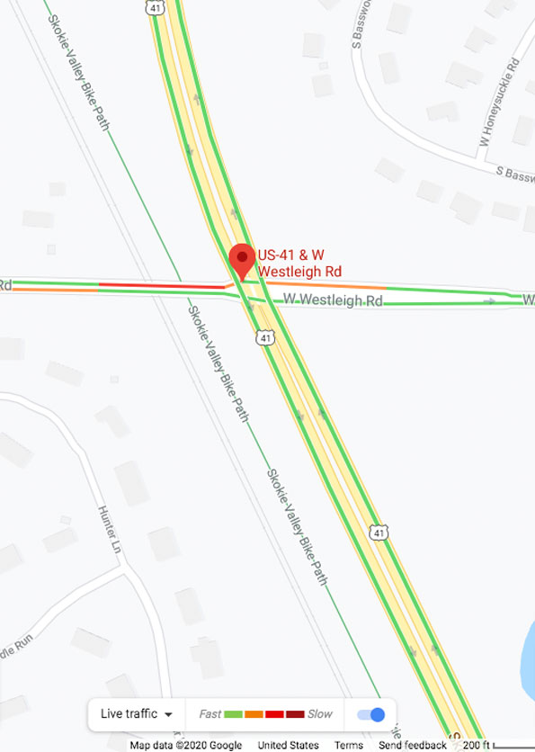 Vehicle vs bicycle crash map on Westleigh Road west of US 41, LakeForest