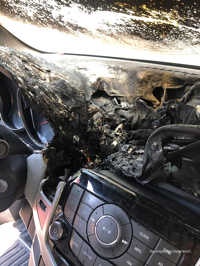 Vehicle fire connected to alcohol hand sanitizer storage (Waukegan Fire Department)