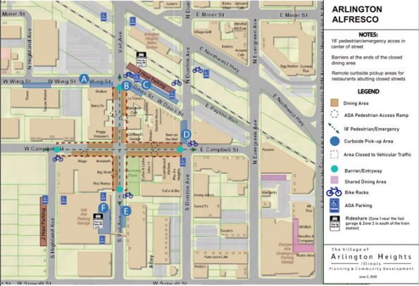 Arlington Alfresco Map for downtown Arlington Heights