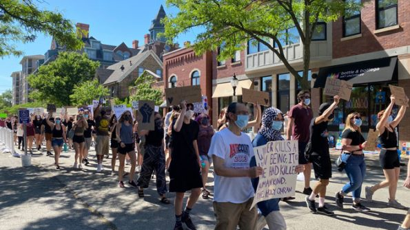 Protest march on Campbell Street in Arlington Heights