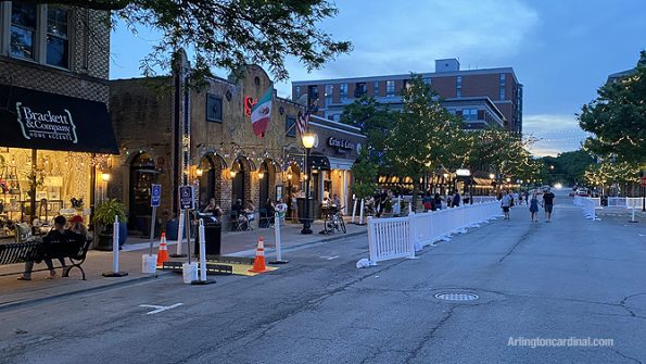 Dining areas left and right and a wide pedestrian walkway 18 feet for safety at Arlington Alfresco
