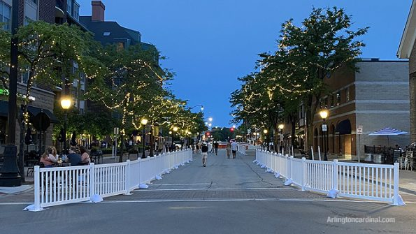 Vail Avenue open for pedestrians at Arlington Alfresco beginning Wednesday June 3, 2020 through Labor Day Weekend