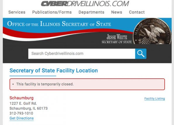 Schaumburg DMV reclosed for COVID-19 on June 19, 2020