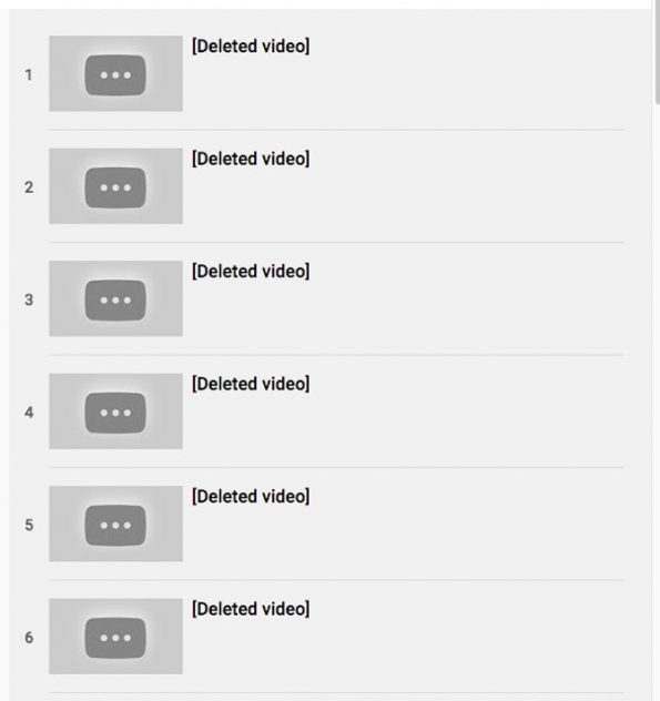 A playlist from a comedian's channel on YouTube showing six of hundreds of Stefan Molyneux videos that were automatically deleted