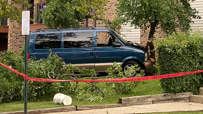 A man was hit by this minivan and trapped under it for several minutes Saturday afternoon in Hoffman Estates