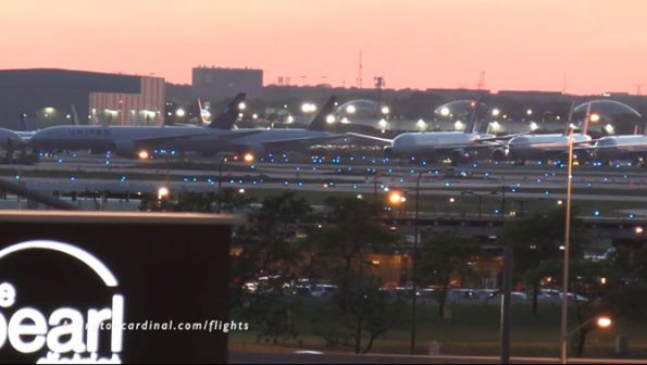 Aircraft parked at O'Hare International Airport on Sunday May 31, 2020 just after sunset