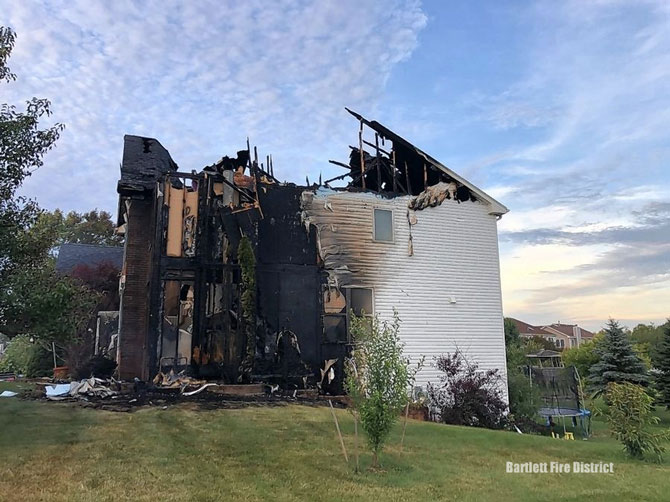 House fire in unincorporated Hoffman Estates Tuesday July 14, 2020