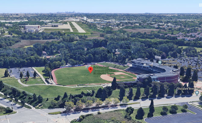 Boomers Stadium aerial view - Chicago White Sox Taxi Squad training site