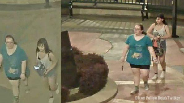 Suspects near Ronald Reagan statue in Dixon, Illinois