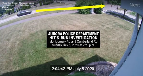 Hit and Run car vs bicycle investigation Sunday July 5, 2020 (SOURCE: Aurora Police Department)