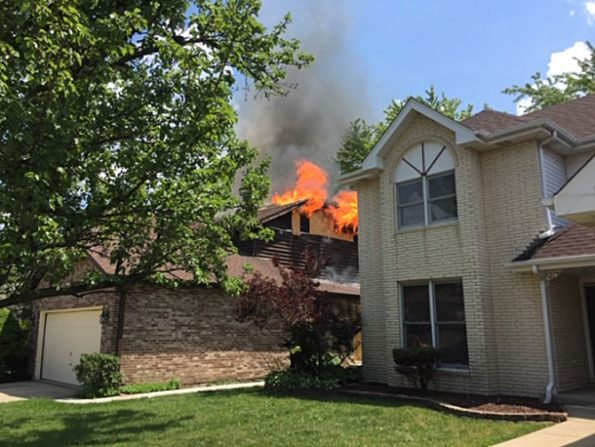Attic fire at house on Albany Lane in Des Plaines (SOURCE: Des Plaines Fire Department)
