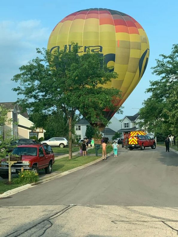 Hot Air Balloon emergency landing for on board medical emergency (SOURCE: Huntley Fire Protection District)