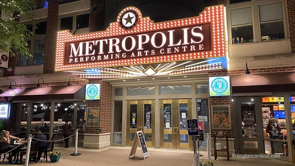 Front entrance to Metropolis Performing Arts Centre in Arlington Heights