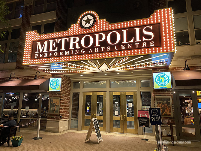 Metropolis Performing Arts Centre close up with new lighted sign marquee