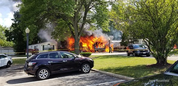 Mobile home fire on Broughman Drive in Wheeling on Friday July 10, 2020