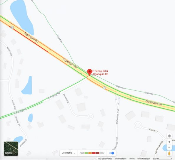 Map motorcycle crash Algonquin Road and Penny Road in South Barrington on July 2, 2020