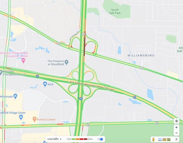 Fuel Leak northbound Route 53 at Algonquin Road near Rolling Meadows on Wednesday July 8, 2020