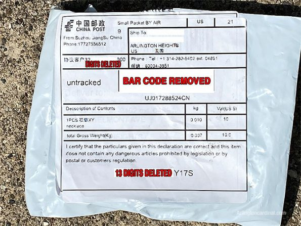 Unsolicited seeds from China delivered to Arlington Heights in mail -- shipping label on white plastic envelope