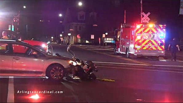 Car crash with motorcycle at US 14 and Evergreen Avenue Arlington Heights