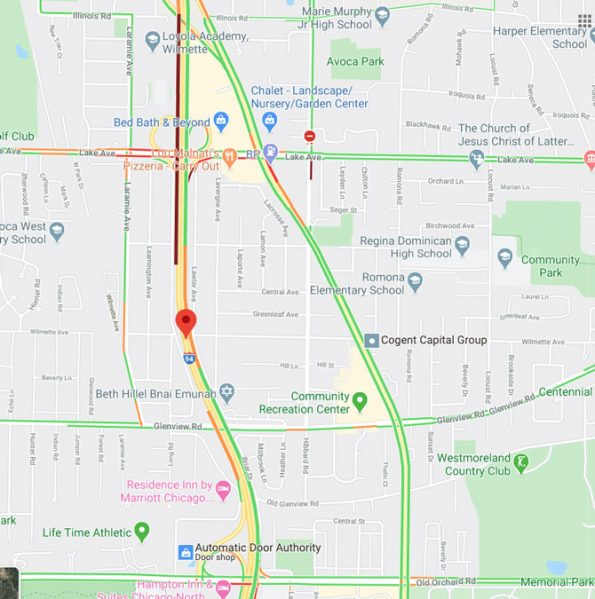 Edens Expressway Crash Map just after crash Wednesday August 12, 2020