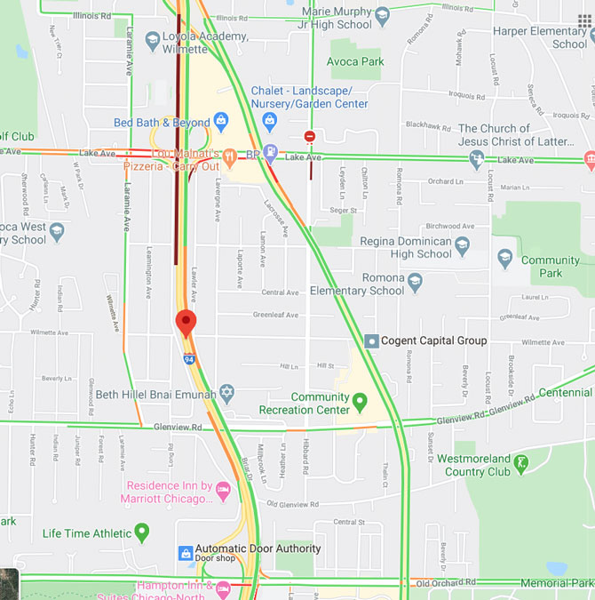 Edens Expressway Crash Map for early Thursday August 13, 2020