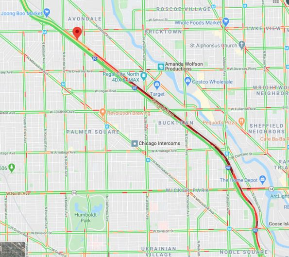 Hit-and-Run crash map for I-90 Monday August 17, 2020