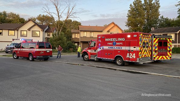 Wheeling ambulance and Rolling Meadows ambulance and Wheeling Battalion Chief at fire on Chippewa Trail in Wheeling