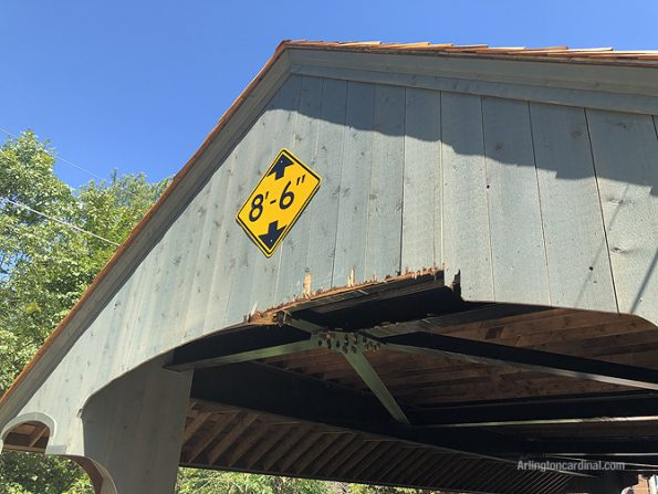 Damage on the southwest side of the Long Grove covered bridge on Robert Parker Coffin Road