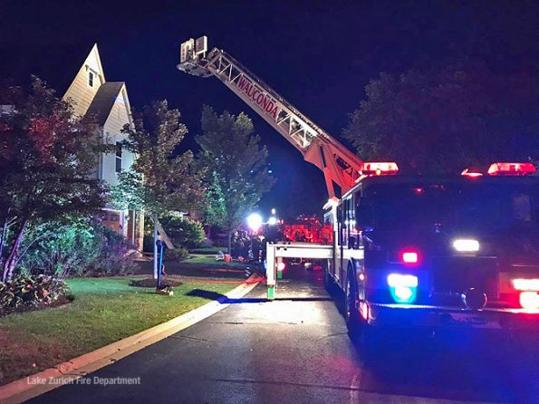 Wauconda Tower Ladder at house fire in Deer Park in Lake County (SOURCE: Lake Zurich Fire Department)