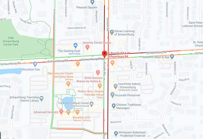 Schaumburg Road and Roselle Road Crash Traffic Map Friday August 7, 2020
