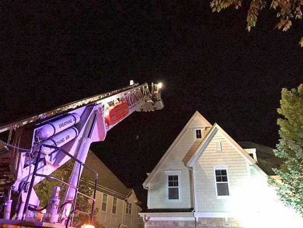 Wauconda Tower Ladder at house fire in Deer Park in Lake County