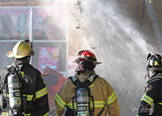 Supervising fire attack in Mundelein Wednesday, September 2, 2020 (PHOTO CREDIT: J. Kleeman)