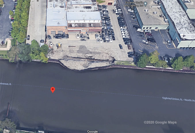 North Branch Chicago River 1300 Block Aerial View (©2020 Google Maps)