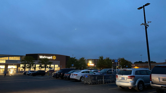 No overhead lights on in parking lot after dark at the Mount Prospect Walmart parking lot after robber on Wednesday, September 9, 2020