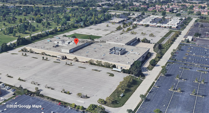 Amazon Warehouse Aerial View pre-construction at 1455 Shure Drive Arlington Heights