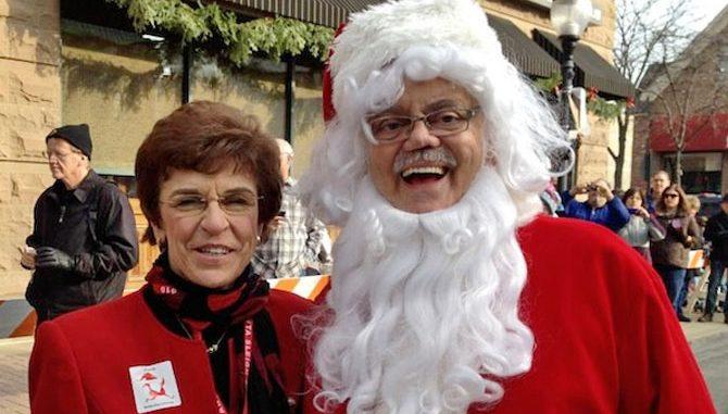 Bob Rohrman as Santa with former Mayor Arlene Mulder in December 2012